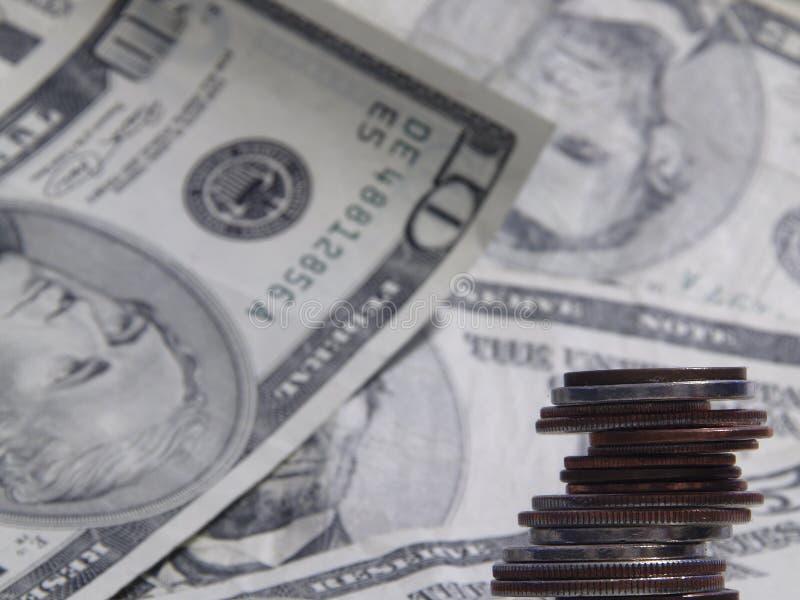Money Money. Change against a money background stock photo