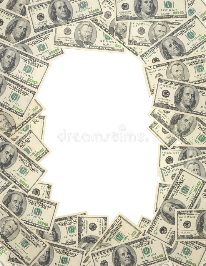 Money, money, money. Money frame royalty free stock photography