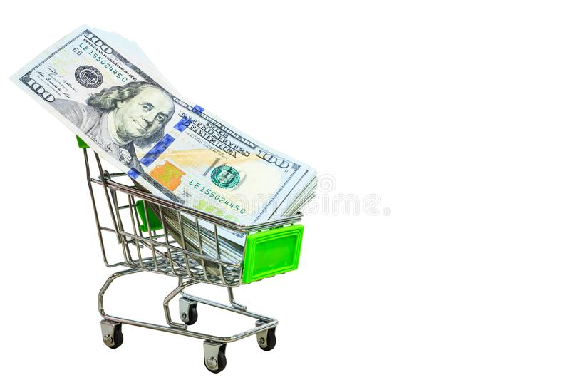 Money new design dollar shopping cart isolated on white background with clipping path stock image