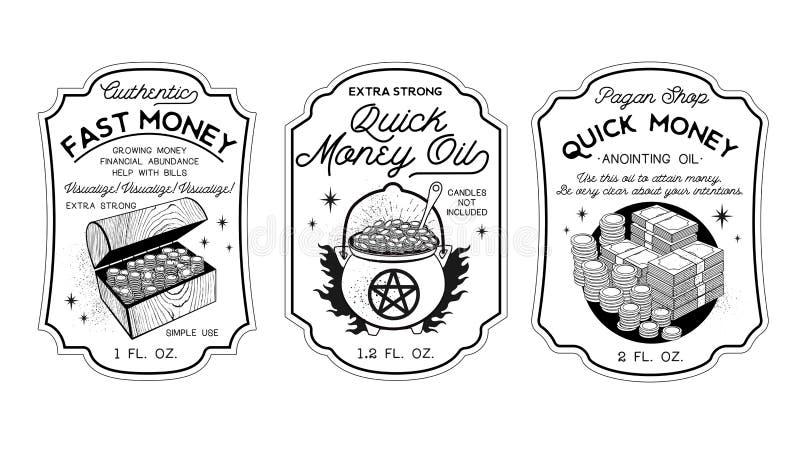 Money Oil Bottle Labels Potion Labels. Vector Illustration. Money Oil For Cash Financial Success. Bottle Labels Potion Labels. Vector Illustration stock illustration