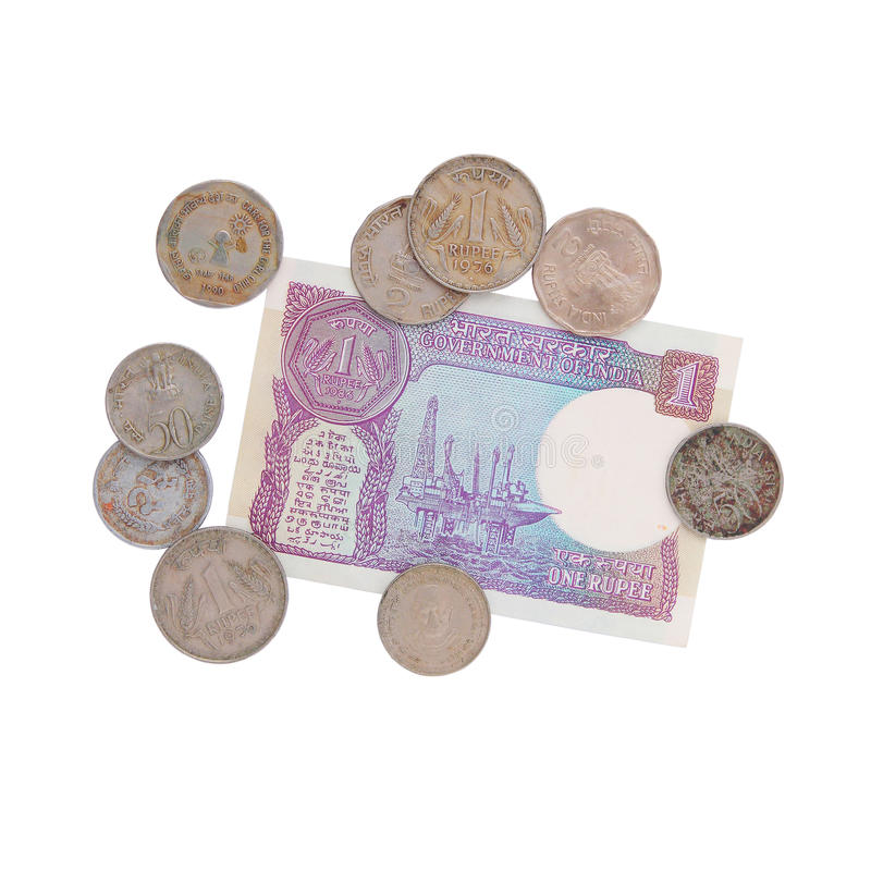 Money - old Indian rupees - collection stock images