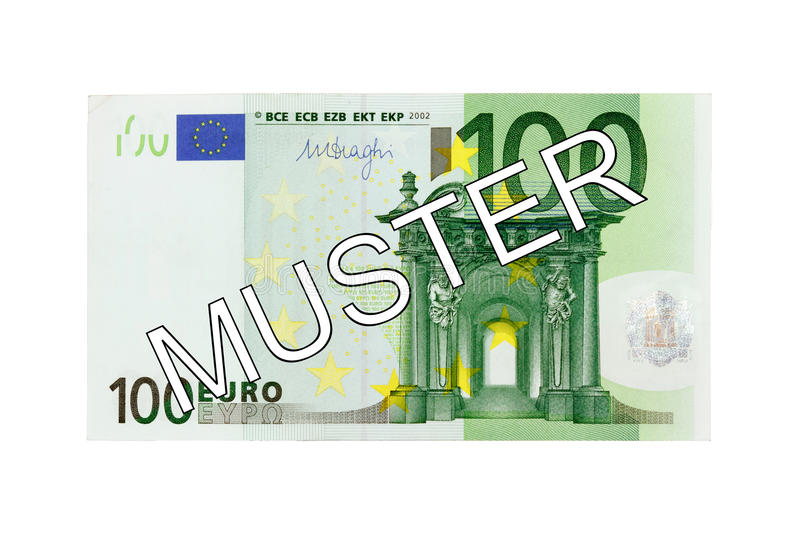 Money - One hundred (100) Euro bill front with German lettering Muster (specimen). Money - One hundred (100) Euro bill banknote front with German lettering royalty free stock photography