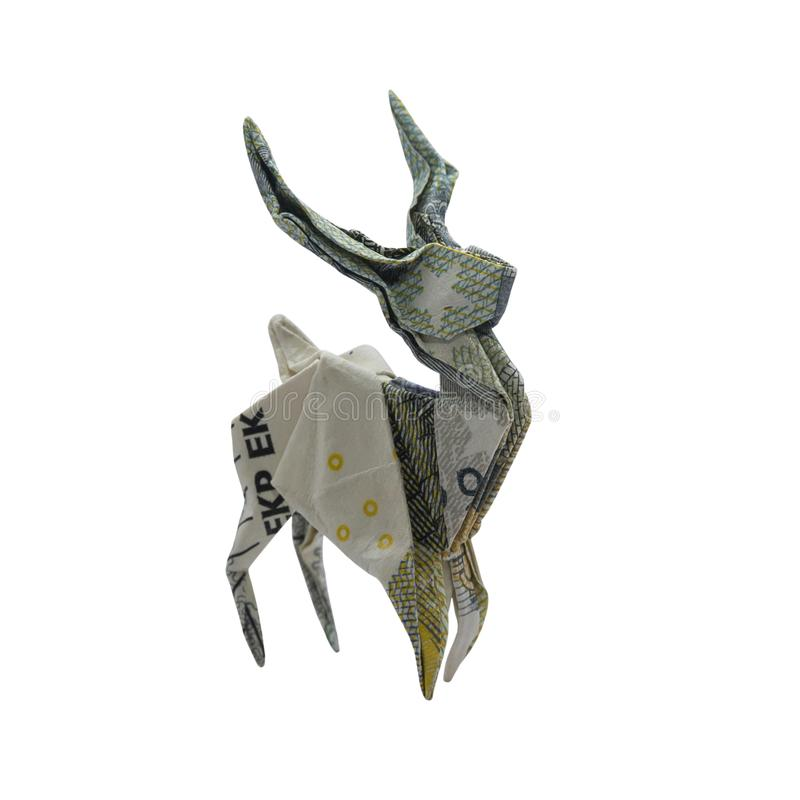 Free Money Origami Baby DEER Wild Stag Folded With Real 5 Euro Note Isolated On White Background Royalty Free Stock Photos - 138451108