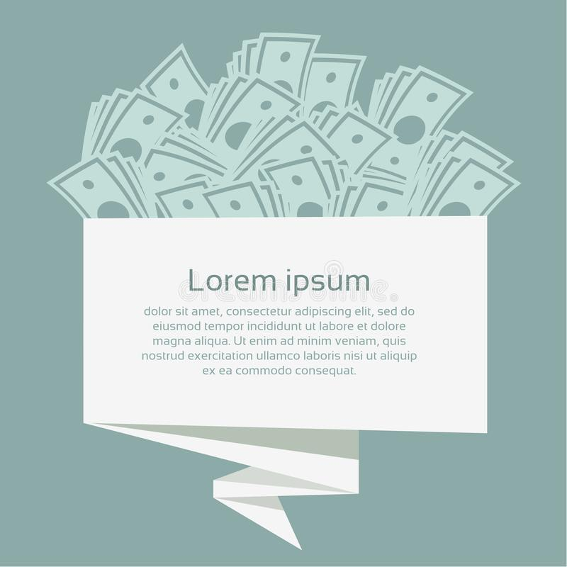 Money on origami banner. Business concept. Vector Illustration. vector illustration