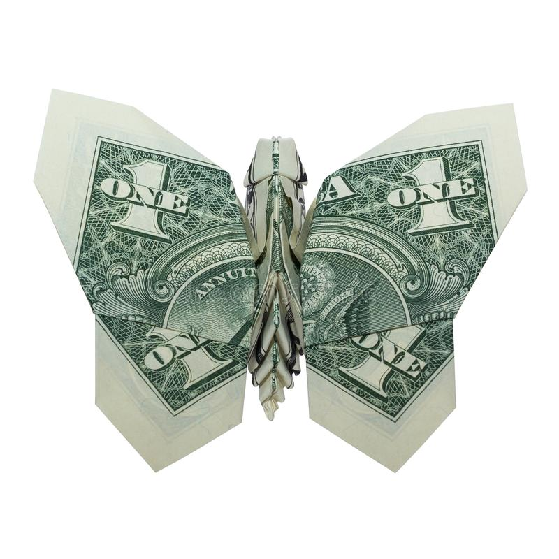 Money Origami BUTTERFLY Folded Real One Dollar Bill Isolated on White Background royalty free stock photos