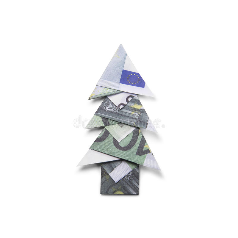 Dollar Bill Origami Christmas Tree: Christmas Tree Made Of Hundred Dollar Stock Image