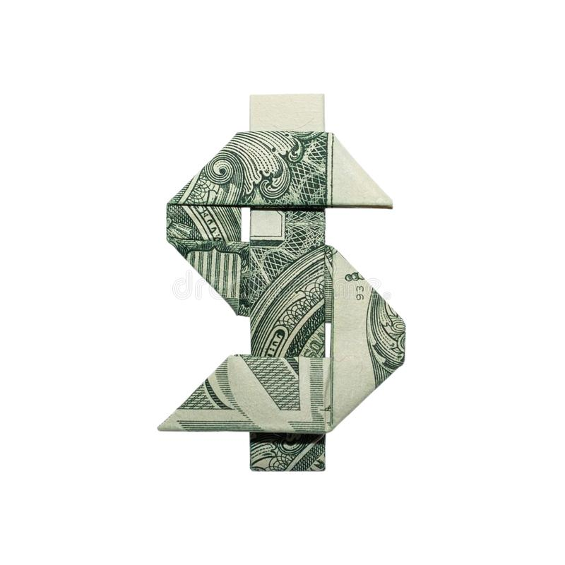 Money Origami DOLLAR SIGN Real One Dollar Bill royalty free stock photo
