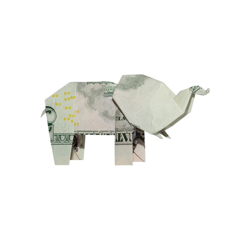 Money Origami ELEPHANT Right Side Folded with Real FIVE Dollar Bill. Isolated on White Background stock illustration