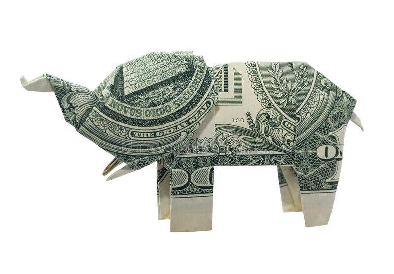 Money 1$ Dollar Bill Origami ELEPHANT 3D Statue Lucky C | 557x800