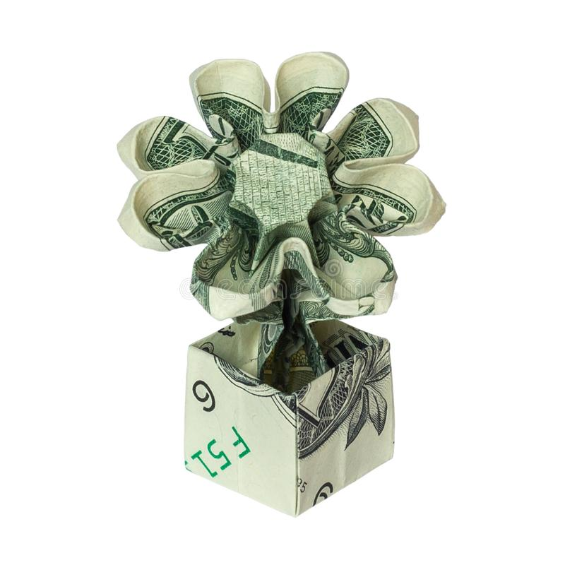 Money Origami FLOWER in POT Folded with Real One Dollar Bill stock images