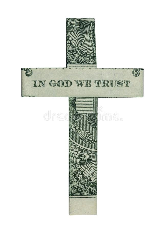 Money Origami In God We Trust CROSS Isolated Real One Dollar Bill royalty free stock photo