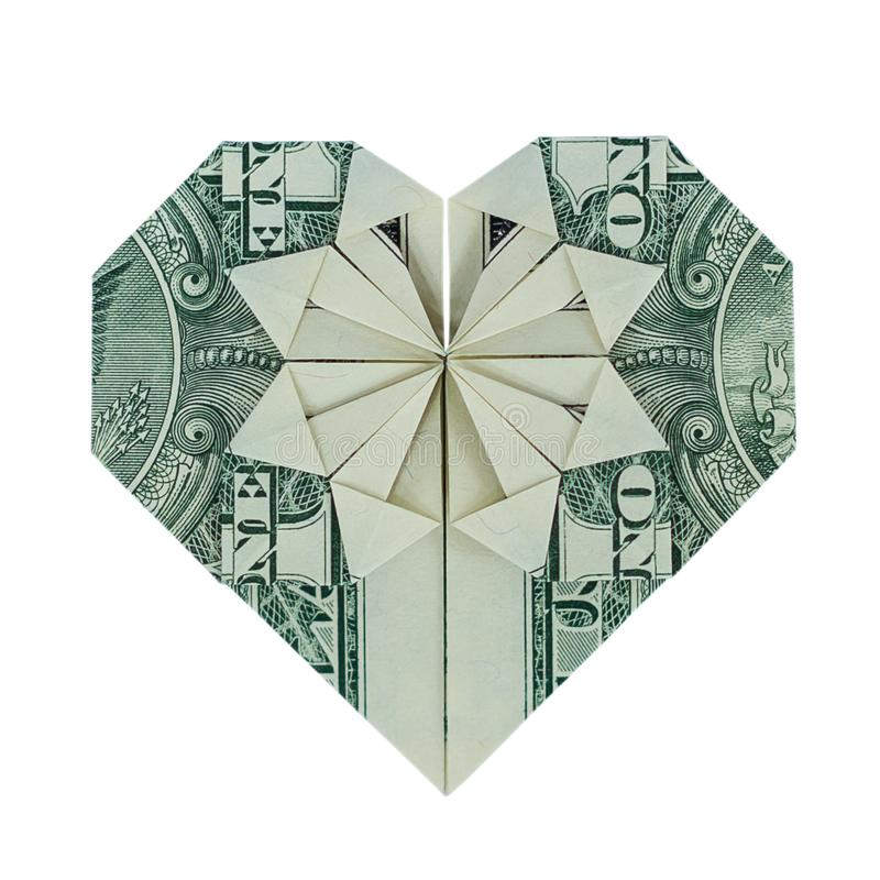 Money Origami HEART Real One Dollar Bill Isolated on White royalty free stock image