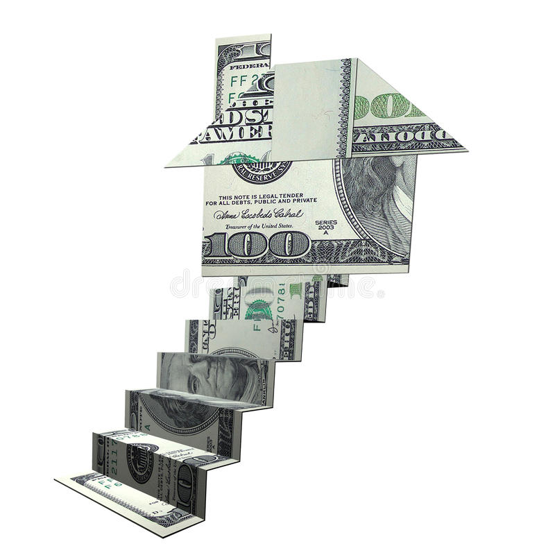 Money origami of house and stairs stock illustration