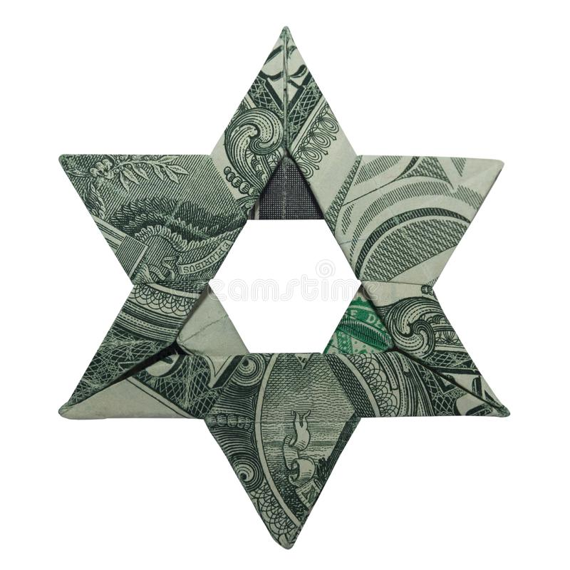 Money Origami Jewish STAR of DAVID Real One Dollar Bill. Money Origami Jewish STAR of DAVID Folded with Real One Dollar Bill Isolated on White Background stock illustration