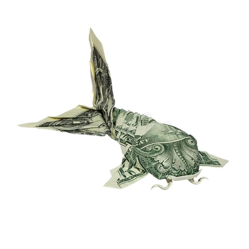 Money Origami KOI FISH Folded with Real One Dollar Bill royalty free stock images
