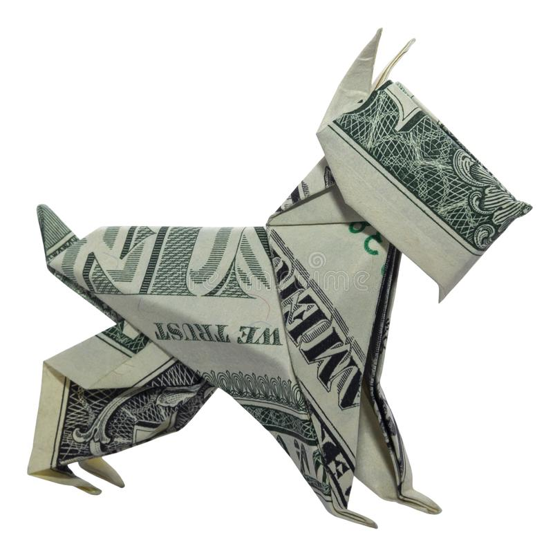 Money Origami Mini SCHNAUZER Dog Pet Real One Dollar Bill Isolated on White Background. Money Origami Mini SCHNAUZER Dog Pet Folded with Real One Dollar Bill stock images