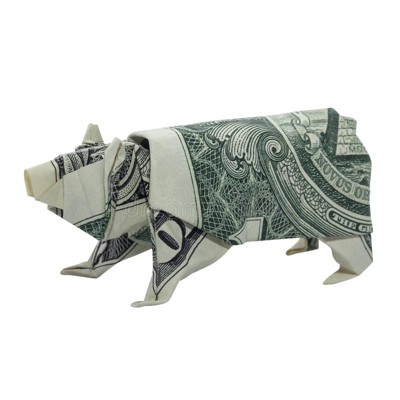 Money Origami Polar BEAR Animal Real One Dollar Bill Isolated on White Background stock images