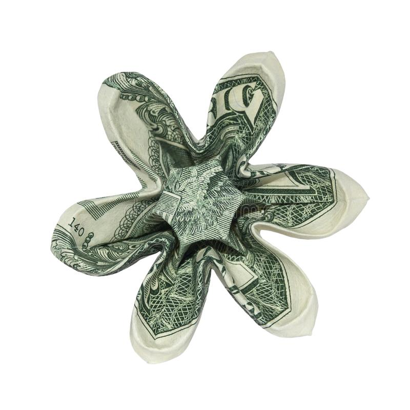 Money Origami Six Petals FLOWER Real One Dollar Bill royalty free stock images