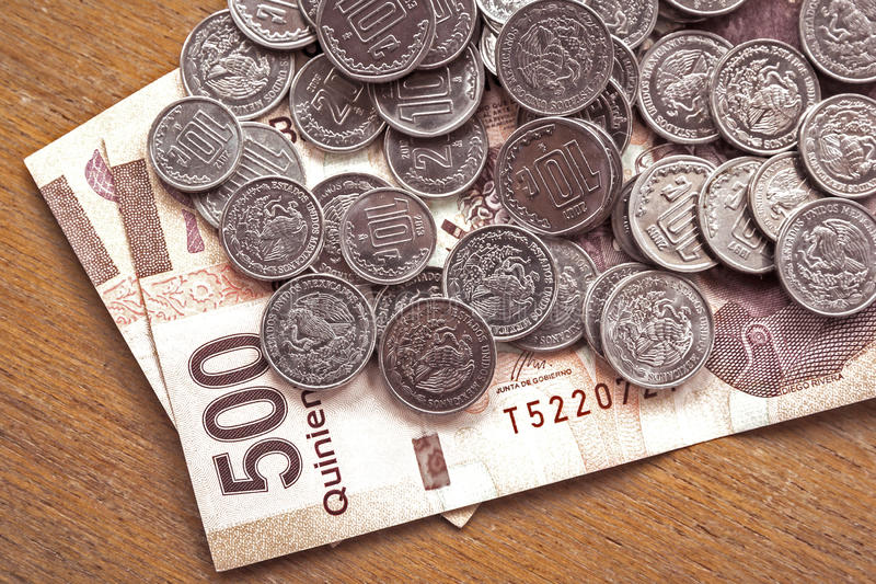 Money. Over the table, mexican pesos 500 bills in cash royalty free stock photo