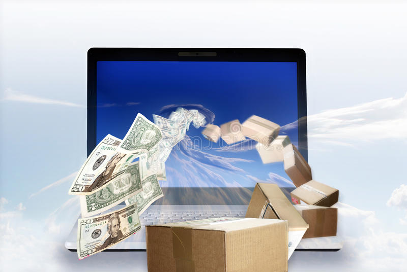 Money in, Package out. Money being sucked into a laptop while packages are flowing out
