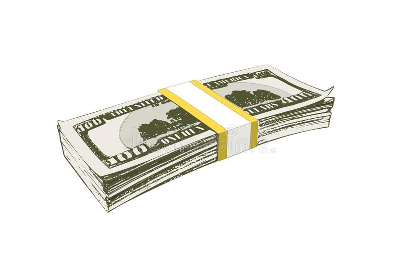 Bundle of banknotes for a hundred dollars vector illustration