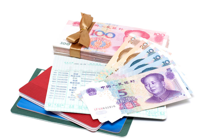 Money and passbook royalty free stock photo