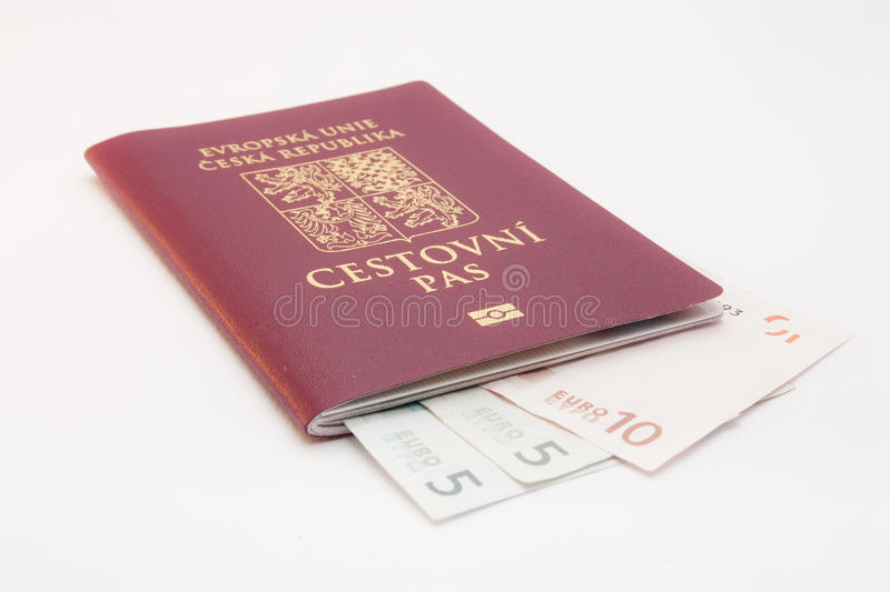 Money in passport. Passport with money for holiday stock images
