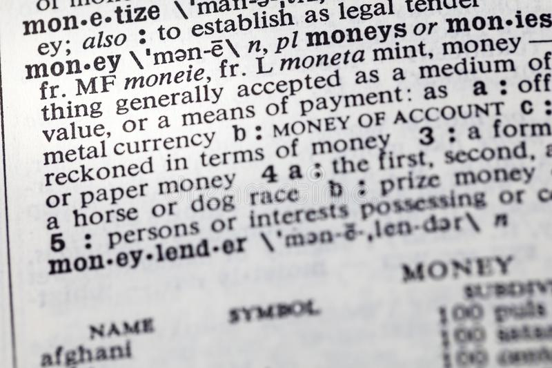 Money payment medium definition dictionary royalty free stock images