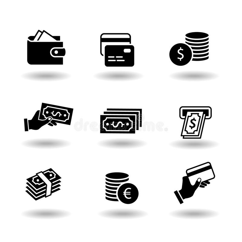 Money and payment solid black vector icon set. Euro and dollar coin, exchange, credit card, pay by card, atm, paper vector illustration