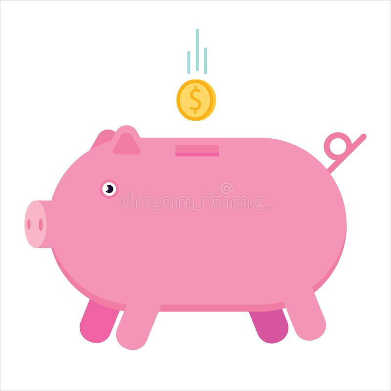 Money pig. Cute piggy bank with flying gold coin cartoon flat style vector illustration isolated on white background. stock illustration