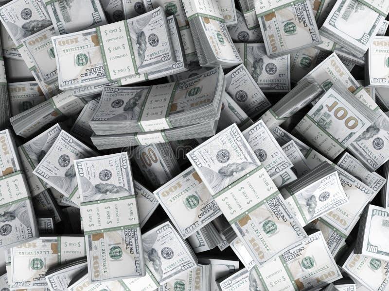 Money Pile of packs of hundred dollar bills stacks 3d render. Money Pile of packs of hundred dollar bills stacks 3d stock illustration