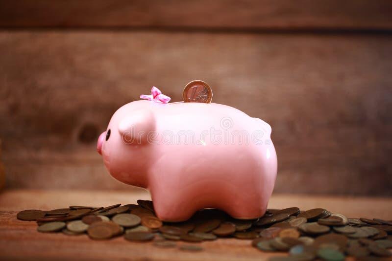 Money pink piggy bank coin putting hand save. Money piggy bank coin putting hand save royalty free stock photo