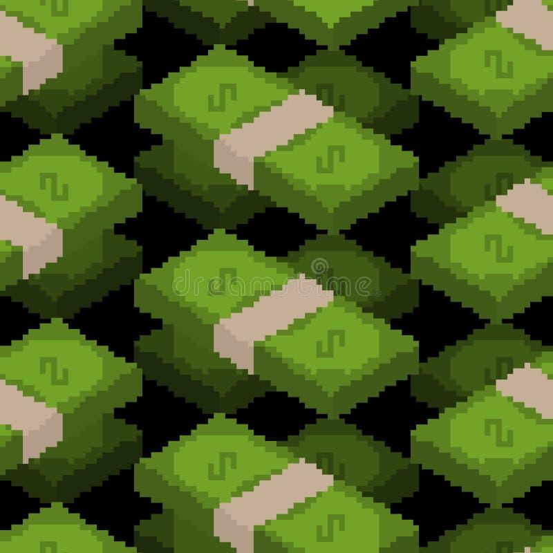 Money Pixel Art Seamless Pattern. Pixelated Cash
