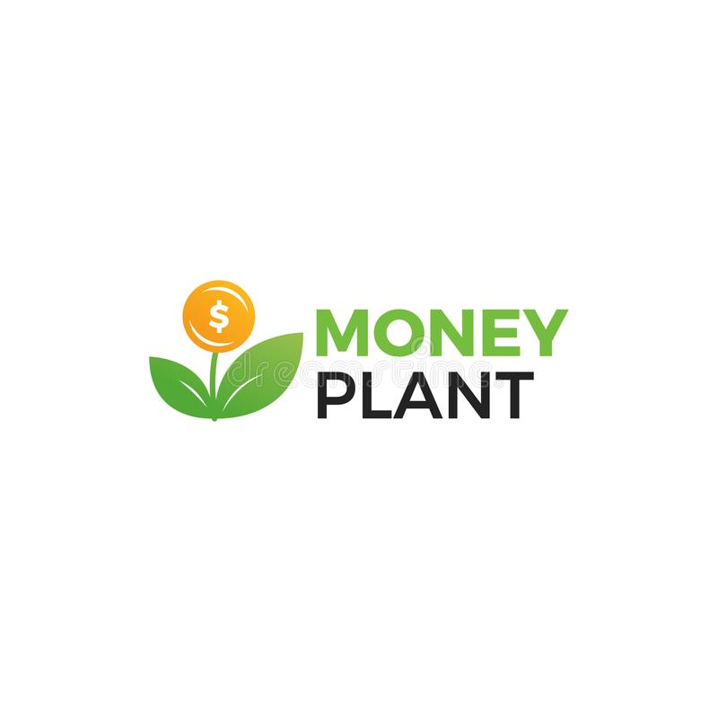 Money plant logo. Growth of investments and investments. Trust Fund logotype. With realistic gradient illustration royalty free illustration