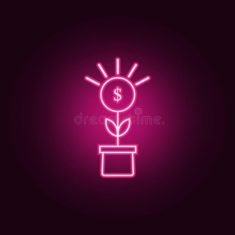 Money plant neon icon. Elements of web set. Simple icon for websites, web design, mobile app, info graphics. On dark gradient background stock illustration