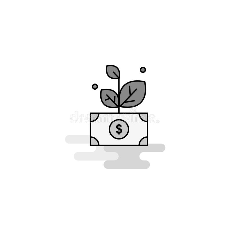 Money plant Web Icon. Flat Line Filled Gray Icon Vector royalty free illustration