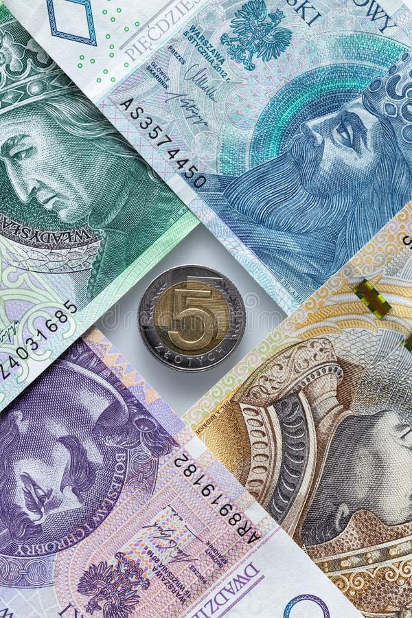 Money from Poland, various banknotes and coin. Money from Poland, banknotes and a coin royalty free stock image