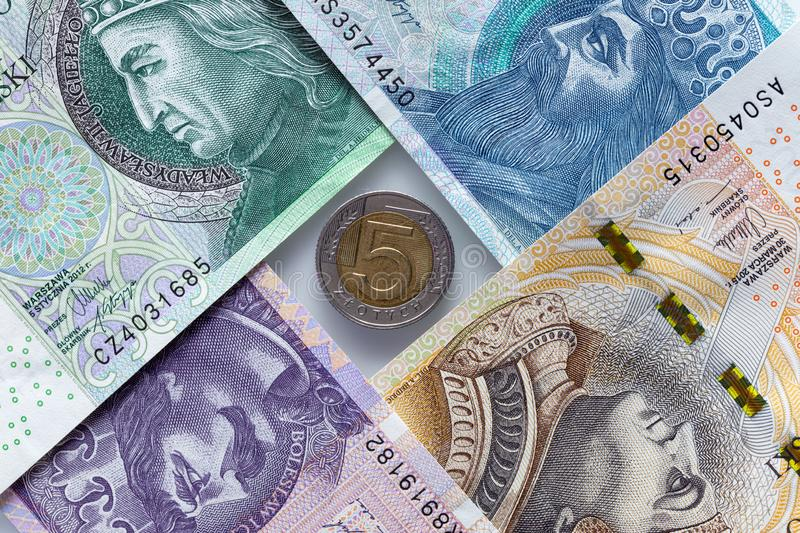 Money from Poland, various banknotes and coin. Money from Poland, banknotes and a coin stock images