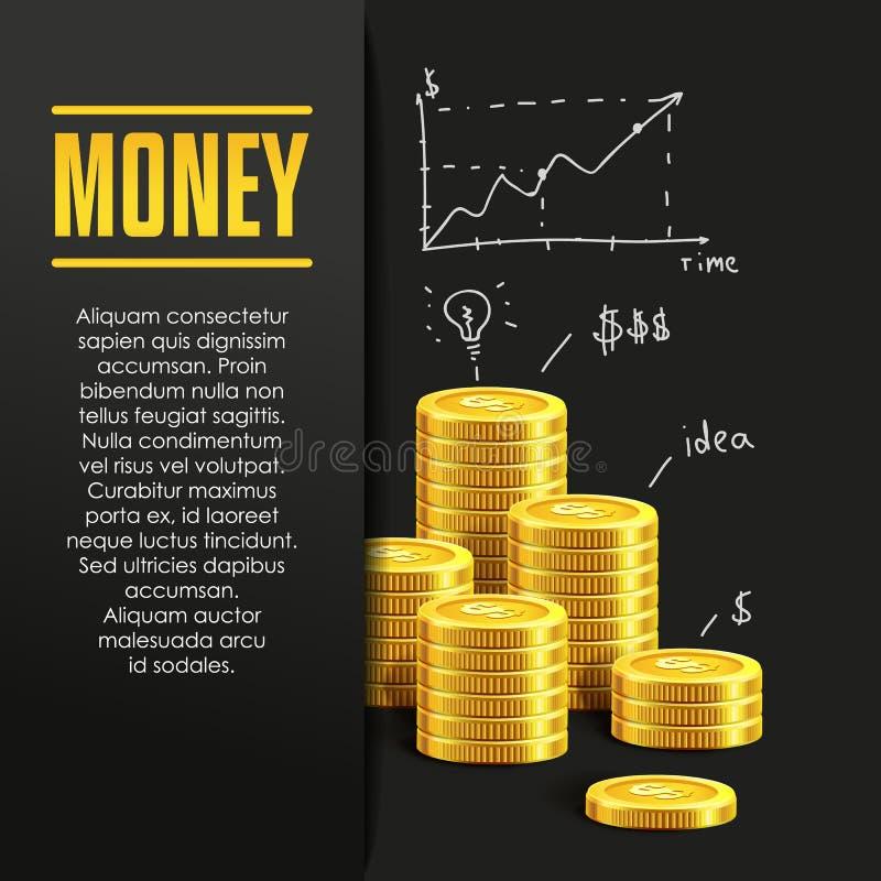 Money poster or banner design template. royalty free illustration