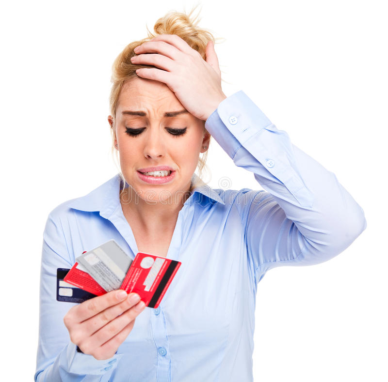 Money Problems Stressed Woman Holding Credit Cards stock photography