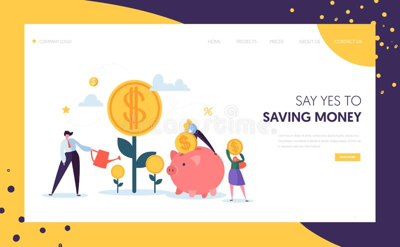 Money Profit Grow Business Landing Page. Investment Financial Concept. People Increasing Capital and Watering Tree royalty free illustration