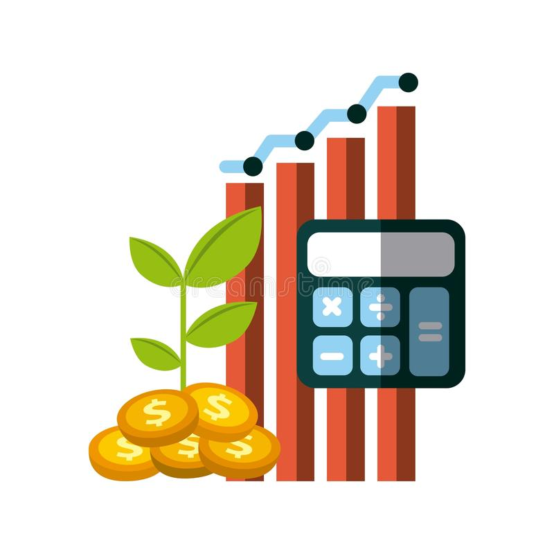 Money and profits design. Graphic chart with calculator and gold coins over white background. colorful design. money and profits concept. illustration stock illustration