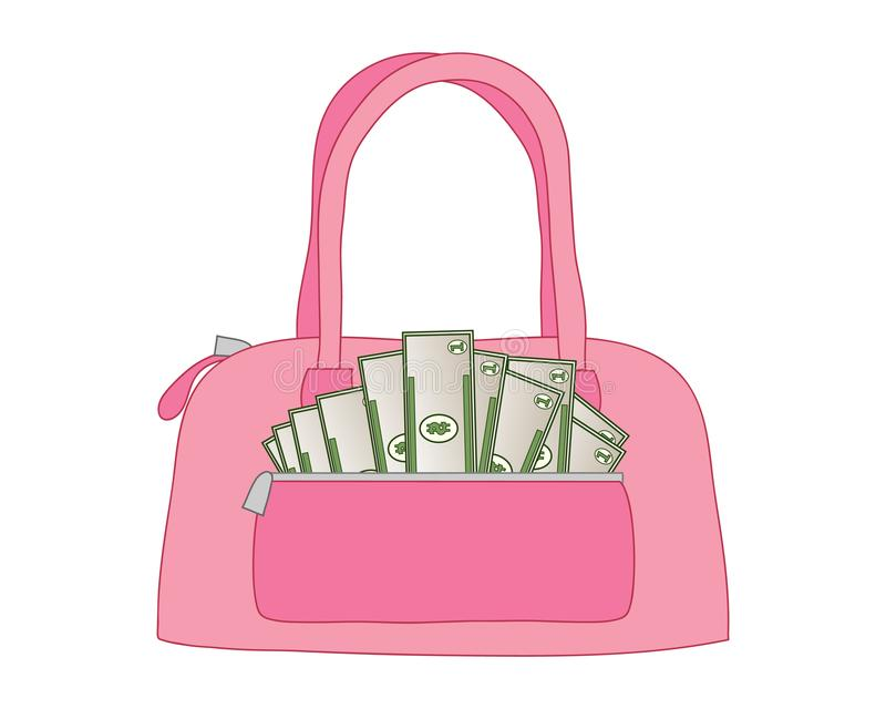 Money purse in pink leather with a pocket full of dollar bills. An illustration of a pink leather handbag full of dollar bills in a front pocket on a white royalty free illustration