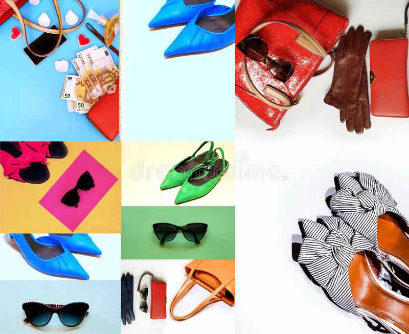 Fashion set accessories women clothes  hat sunglasses handbag gloves shoes colorful pink blue red  green yellow sandals  living co. Money purse red wallet parfum royalty free stock images