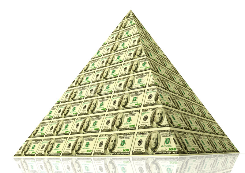 Money pyramid. Financial pyramid. 3D concept of global finance and money