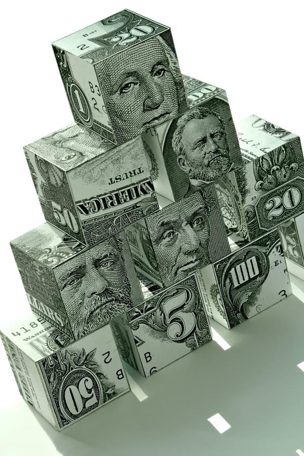 Money pyramid-financial concept stock photos