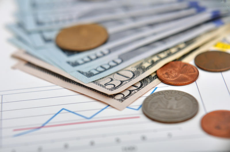Money. And quarter dollar on annual report royalty free stock photo