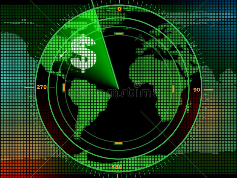 Money radar. Radar screen locating business opportunities over the world. Digital illustration