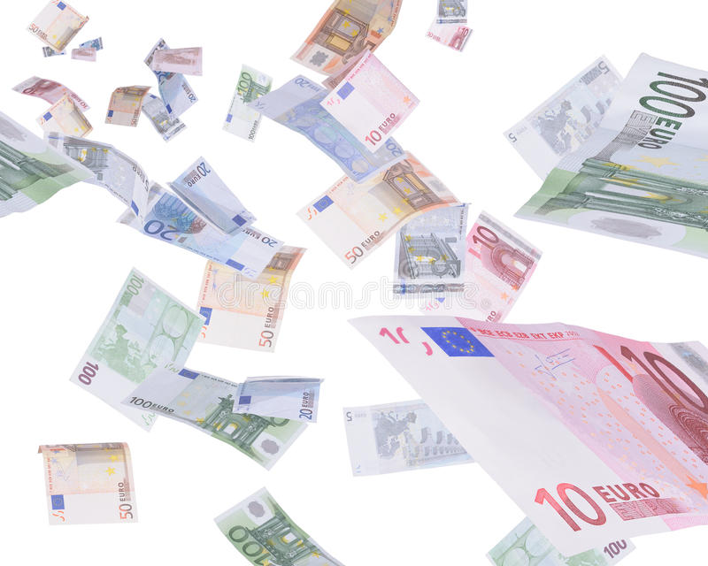 Money rain. Falling raining euro banknotes money rain royalty free stock image