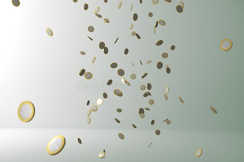 Money rain. Flying Money. Flying coins royalty free stock images